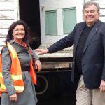 Mayor Samantha MacIntosh with architect Andrew Fedorowicz.